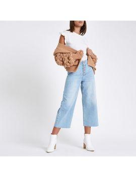 Light Blue Alexa Frayed Hem Culottte Jeans by River Island