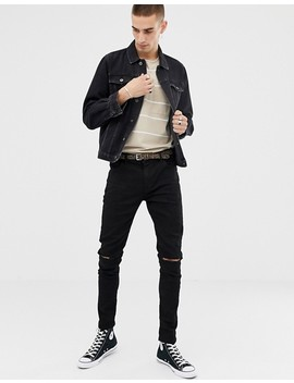 Heart & Dagger  Skinny Denim Jacket In Washed Black by Heart & Dagger