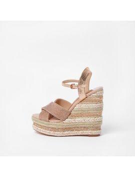 Light Pink Metallic Rhinestone Wedge Sandals by River Island