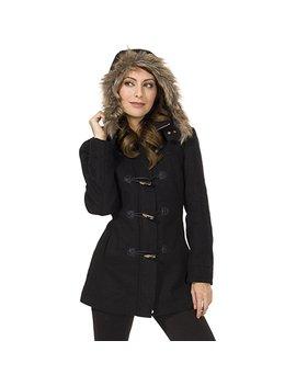 Alpine Swiss Women's As709 Duffy Wool Coat Fur Trim Hooded Parka Jacket by Alpine+Swiss