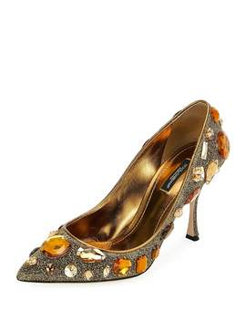 Jeweled Mesh Pointed Pumps by Dolce & Gabbana