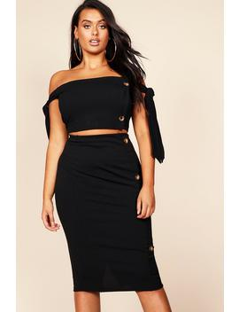 Plus Button Detail Midi Skirt by Boohoo