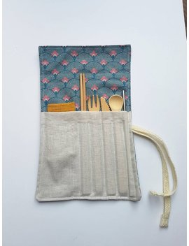 Reusable Bamboo Cutlery Set. Travel Pouch With Bamboo Cutlery, Napkin, Chopsticks And Metal Straw. Zero Waste by Etsy