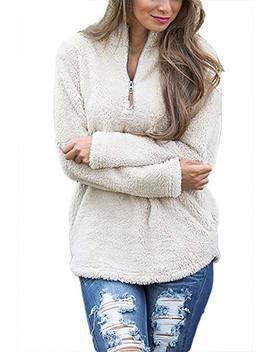 Alelly Women's Long Sleeve 1/4 Zip Pullover Jacket Outwear Sweatshirt Winter Coat by Alelly