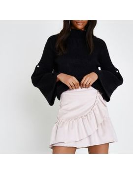 Light Pink Faux Suede Wrap Frill Mini Skirt by River Island