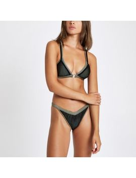 Khaki Mesh High Leg Bikini Bottoms                                    Khaki Mesh Triangle Bikini Top by River Island