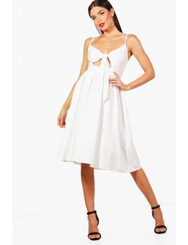 Knot Front Midi Skater Dress by Boohoo