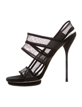 Mesh Suede Trimmed Sandals by Gucci