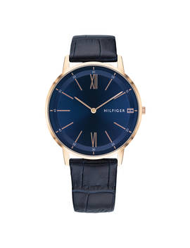 Tommy Hilfiger 1791515 Men's Cooper Leather Strap Watch, Navy by Tommy Hilfiger