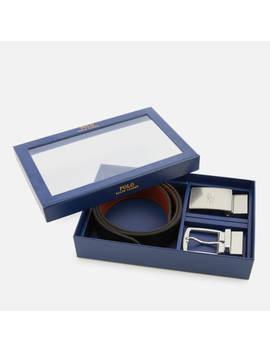 Polo Ralph Lauren Men's Leather Belt Gift Box   Black/Saddle by Polo Ralph Lauren