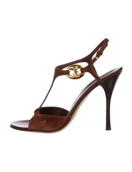 Suede T Strap Sandals by Gucci