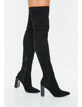 Black Pointed Toe Over The Knee Faux Suede Boots by Missguided