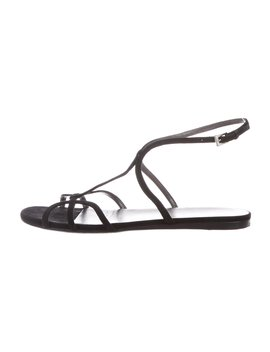 Suede Ankle Strap Sandals by Prada