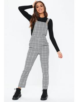 Grey Check Dungarees by Missguided