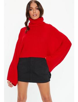 Red Ribbed Roll Wide Cropped Jumper by Missguided