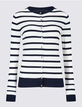 Striped Round Neck Cardigan by Marks & Spencer