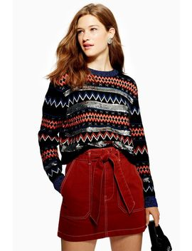 Sequin Stripe Fair Isle Jumper by Topshop