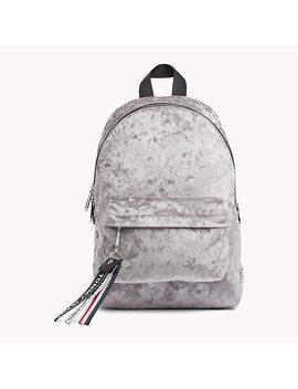 Logo Tape Mini Velvet Backpack by Tommy Hilfiger