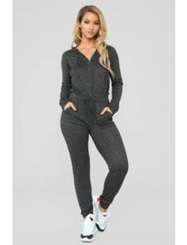 Chill Zone Hooded Jumpsuit   Charcoal by Fashion Nova