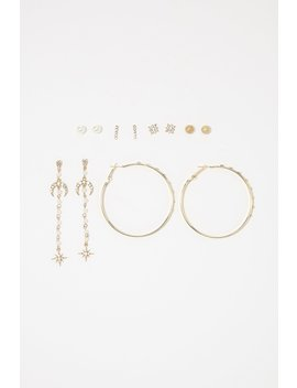 Assorted Stud & Tassel Hoop Earring Set (12 Pc) by Urban Planet