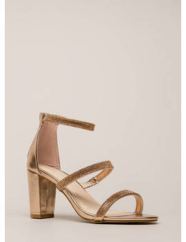 Striking Rhinestone Strap Chunky Heels by Go Jane