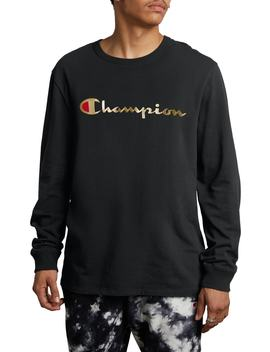 Gold Script Logo Long Sleeve T Shirt by Champion