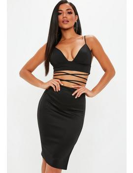 Black Scuba Split Midi Skirt by Missguided
