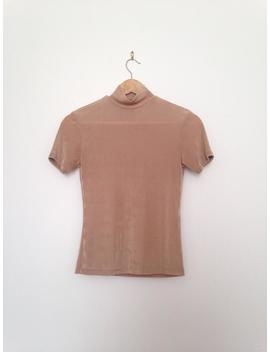 Camel Mock Neck Tee • Stretch • 90s • Small by Etsy