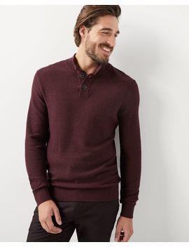 Buttoned Mock Neck Sweater by Rw & Co