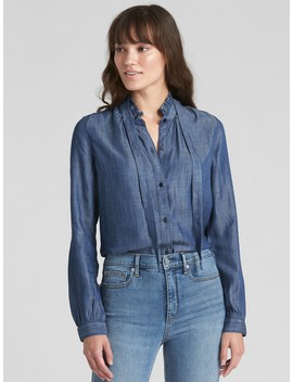 Ruffle Tie Neck Shirt In Tencel™ by Gap