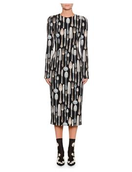 Long Sleeve Silverware Print Sheath Midi Dress by Dolce & Gabbana