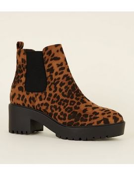 Tan Leopard Print Chunky Heeled Ankle Boots by New Look