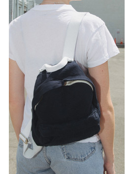 Navy Blue And White Canvas Mini Backpack by Brandy Melville