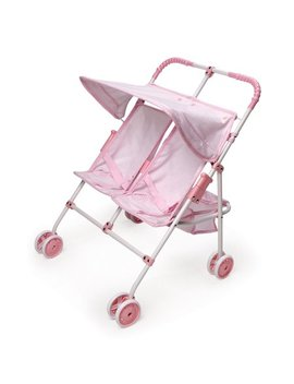 "Badger Basket Folding Double Doll Umbrella Stroller   Pink/Gingham   Fits American Girl, My Life As & Most 18"" Dolls by Badger Basket"