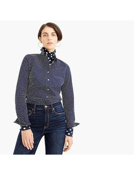 Petite Slim Stretch Perfect Shirt In Polka Dot by J.Crew