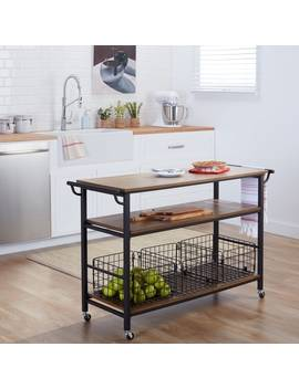 Maison Rouge Mayer Metal Frame Rustic Kitchen Cart With Wood Tabletops And Shelves by Maison Rouge