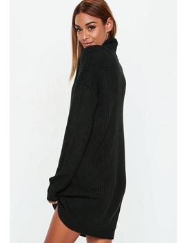 Black Basic Roll Neck Jumper Dress by Missguided