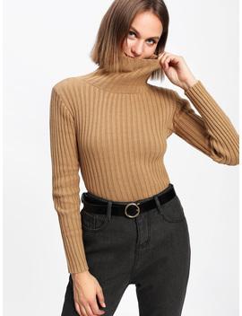 Rib Knit Turtleneck Sweater by Romwe