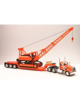 Kenworth W900 Lowboy W/ Crane Truck New Ray by New Ray