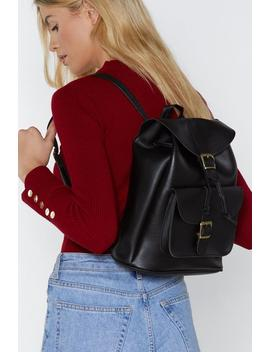 Double Buckle Smooth Pu Backpack by Nasty Gal