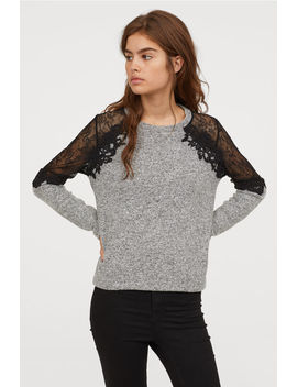 Fine Knitted Sweater With Lace by H&M