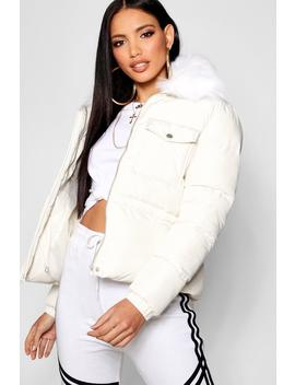 Faux Fur Collar Quilted Coat by Boohoo