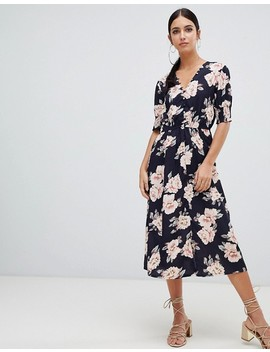Boohoo Button Down Midi Dress In Floral Print by Boohoo