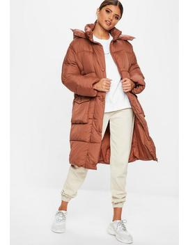Rust Longline Puffer Jacket by Missguided
