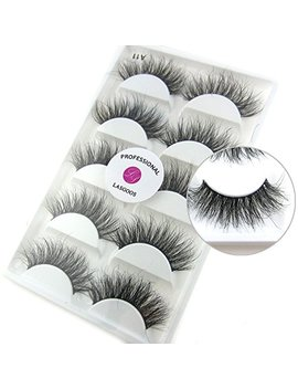 Luxurious 100 Percents Siberian Mink Fur 3 D False Eyelash Lasgoos Degisn Natural Messy Volume Fluffy Long Hot Fake Eyelashes 5 Pairs/Box (A11) by Lasgoos
