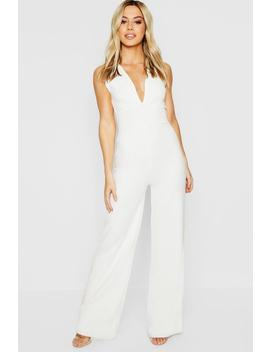 Petite Plunge Wide Leg Jumpsuit by Boohoo