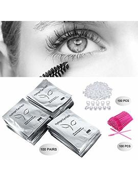 3x100 Packs  Under Eye Pads Lint Free Lash Extension Eye Gel Patches & Eyelash Mascara Brushes Wands Applicator Makeup Brush & Nail Art Tattoo Glue... by Hoobays