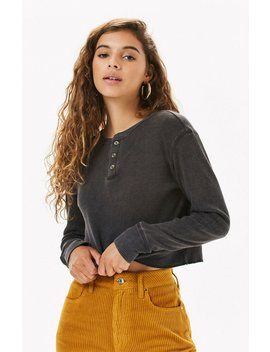 Me To We Jarred Waffle Knit Long Sleeve T Shirt by Pacsun