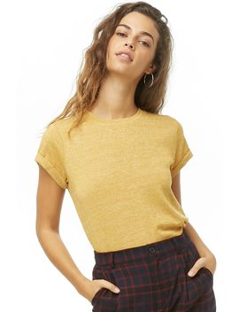 Heathered Cuffed Sleeve Tee by Forever 21