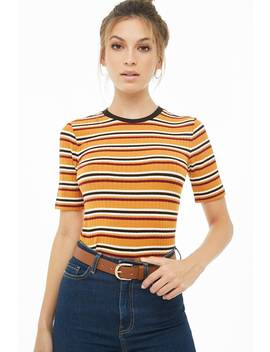 Striped Ribbed Tee by Forever 21